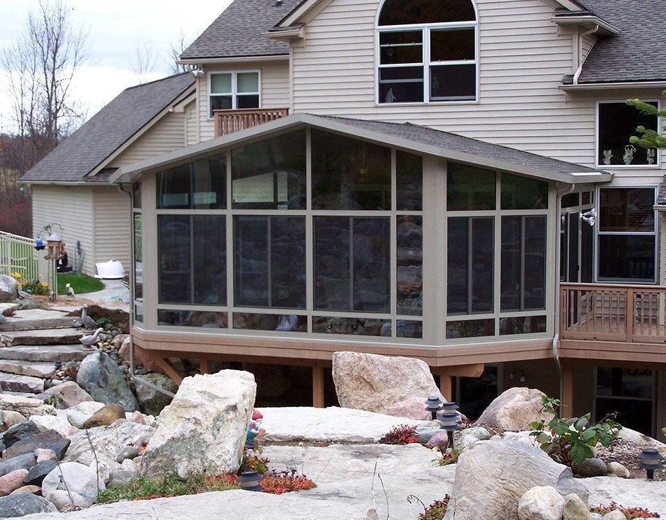 Patio enclosure walls only sunroom for Backyard sunroom